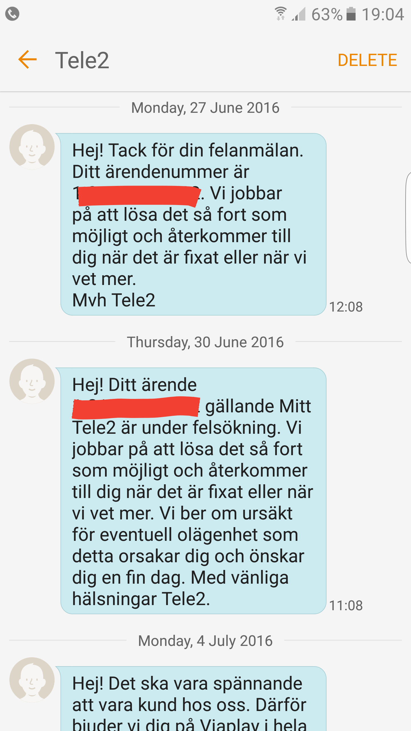 tele2 datamängd kvar sms