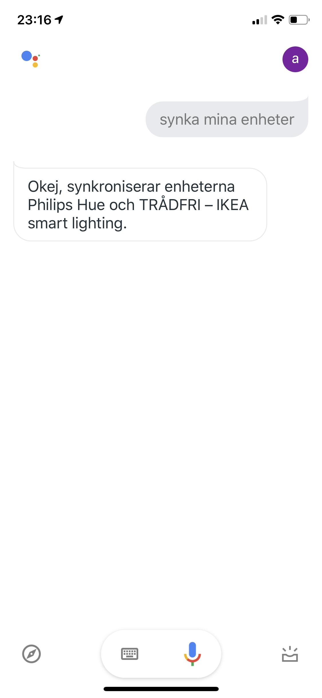 Får inte Google assistent att fungera med Philips HUE och