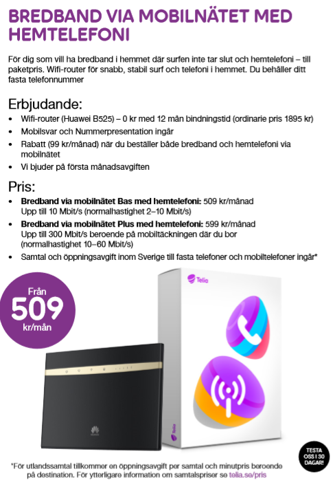 telia fast mobilt bredband