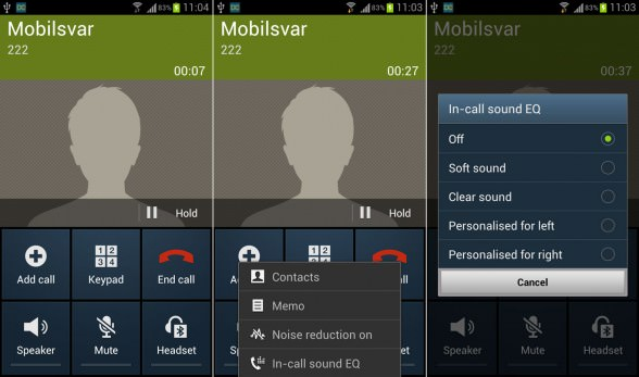Samsung Galaxy S III in call EQ