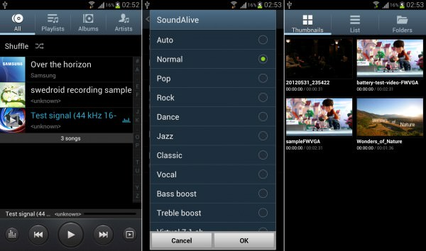 Samsung Galaxy S III music player, music player EQ and video player