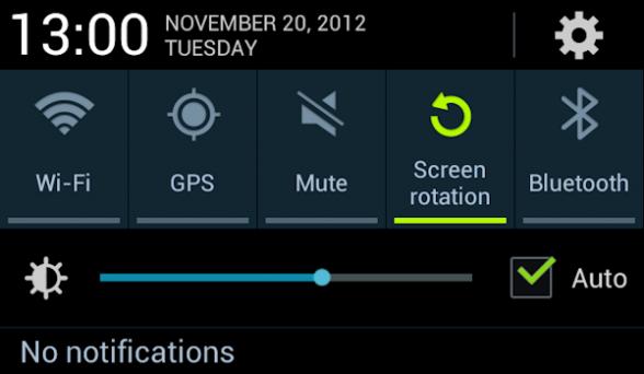 Snabbinställningarna på Galaxy Note 2