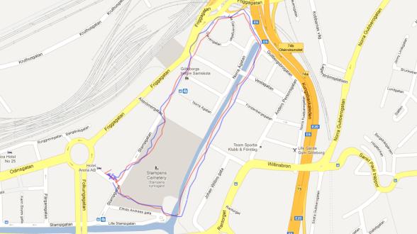GPS Test: Nexus 10 (röd) vs Nexus 4 (blå)