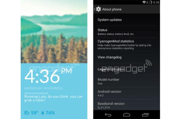 Skärmdumpar från CyanogenMod för OnePlus One