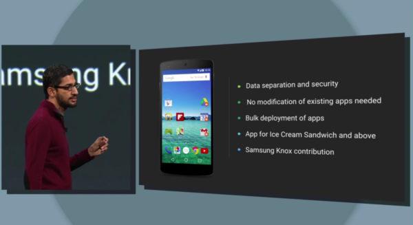 Delar av säkerhetslösningen Samsung Knox kommer integreras i Android