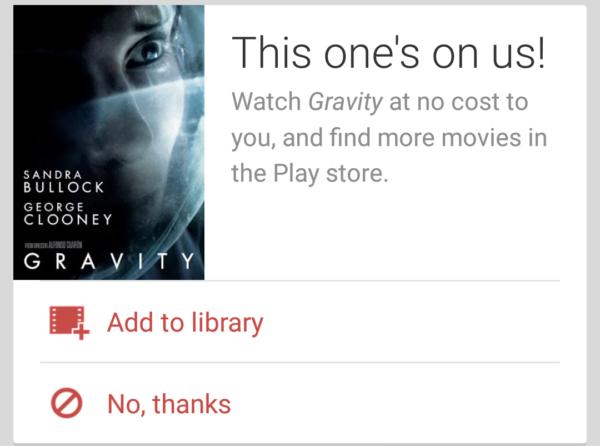 Google bjuder vissa användare på prisbelönta filmen Gravity