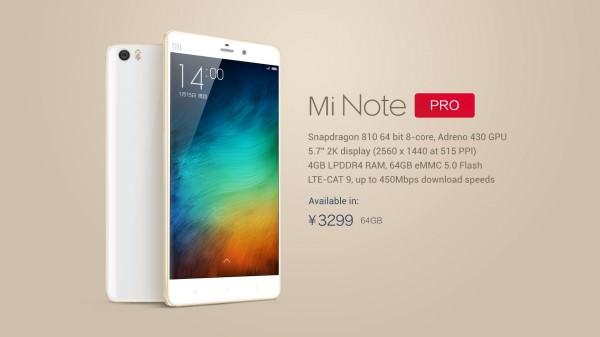 Xiaomi tillkännager Note Pro med WQHD, Snapdragon 810 och 4GB RAM