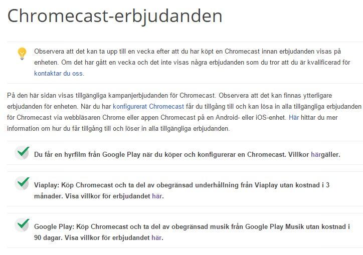 chromecast viaplay 3 månader