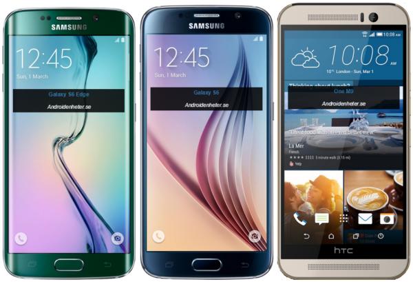 Storleksjämförelser med Galaxy S6 och HTC One M9