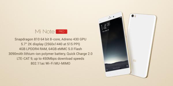 Mobilmonstret Mi Note Pro börjar säljas 12:e maj i Kina