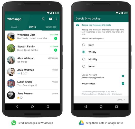 WhatsApp kan nu spara meddelanden på Google Drive